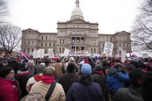 Michigan's Right-To-Work Legislation Draws Large Protests At Capitol