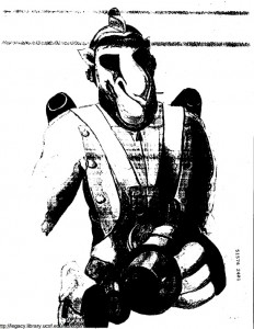 "A concept drawing of Patrick Reynolds' cartoon ""Buck Dromedarian,"" a ""Deep Space Camel"" aimed at helping prevent youth smoking while making the R.J. Reynolds Tobacco Company look like a good guy."