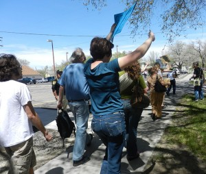 Grand Junction citizens march and protest outside the Grand Junction Chamber of Commerce