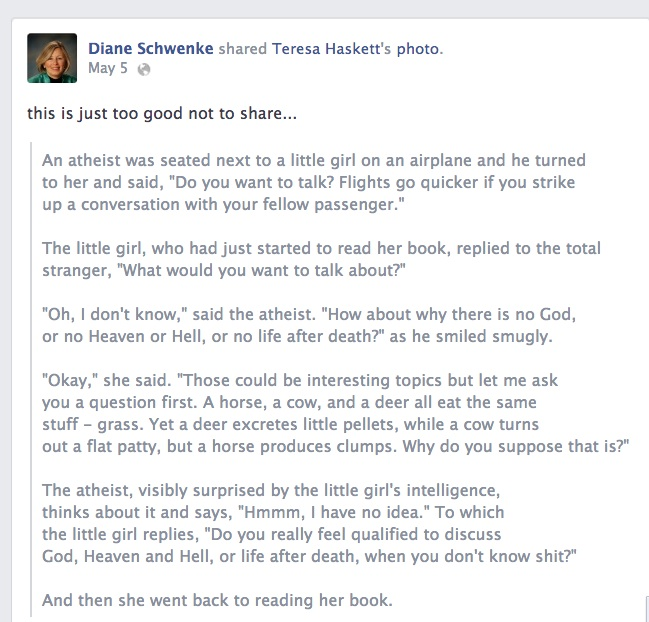Post on Chamber Director Diane Schwenke's personal Facebook page takes a dig at atheists