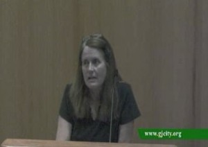 Mare Charlesworth addresses City Council about Rick Brainard May 22.