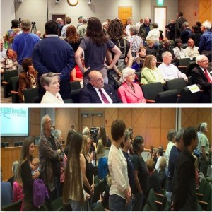 Two views of citizens  turning their backs on Brainard at his swearing in ceremony May 6, 2013.