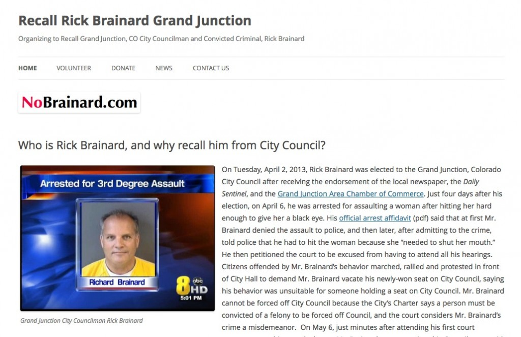 Screen shot of new NoBrainard.com website