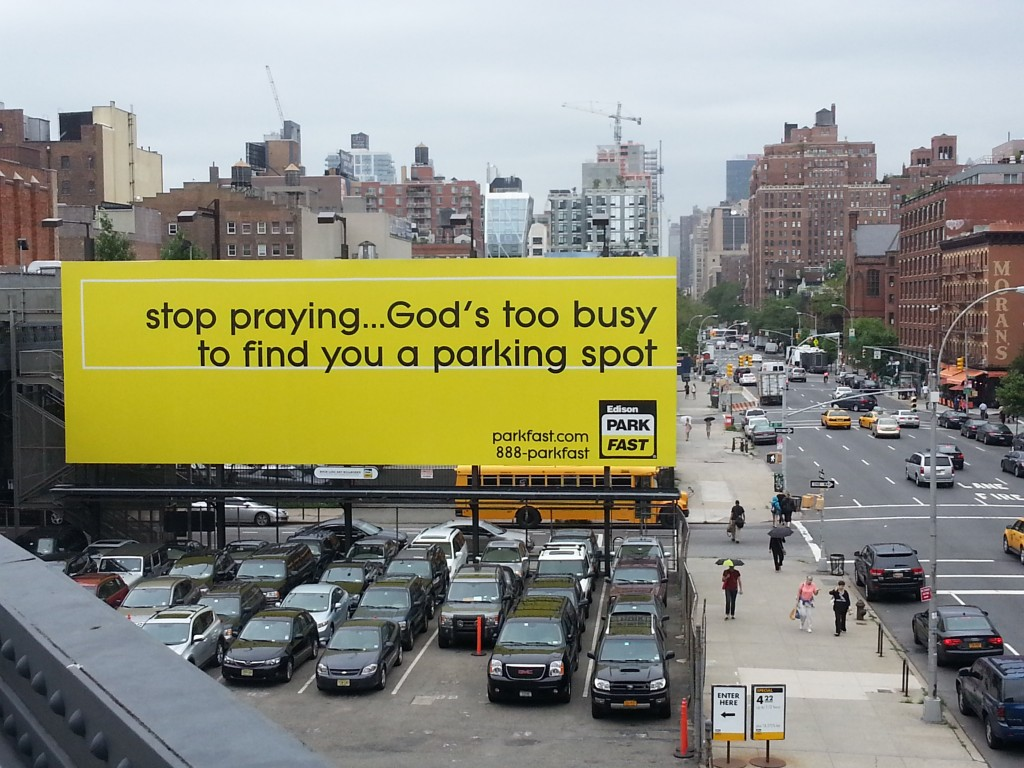 Billboard seen in Manhattan's west side (Chelsea district) advertising the services of a parking lot