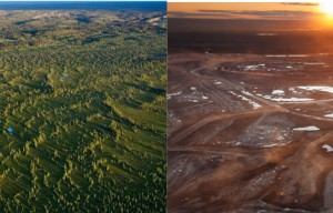 Before and After photo of Alberta's oil sands. Now companies are working to start mining oil sands in eastern Utah.
