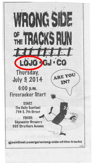 """This ad run in today's Daily Sentinel shows the paper has adopted AnneLandmanBlog's new nickname for lower dowtown G.J.: """"LoJo"""""""