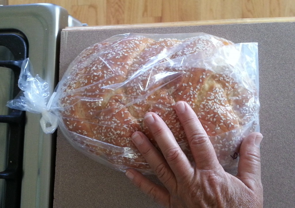 This loaf of challa bread costs $6.40 at Main Street Bagels.