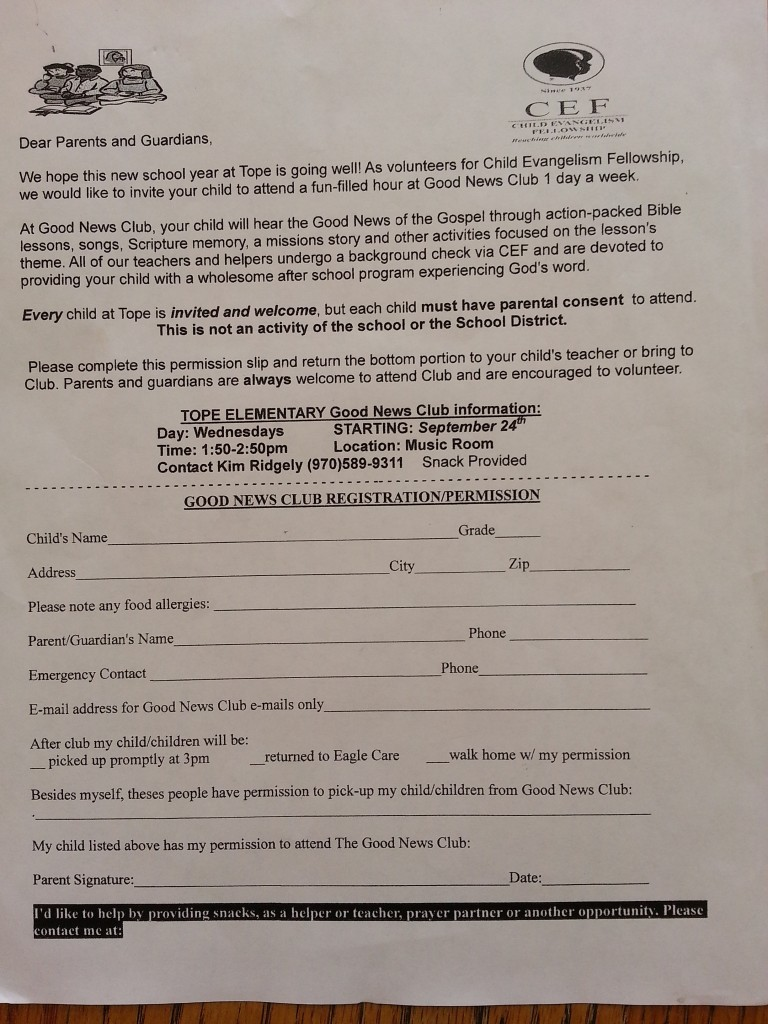 "Permission slip sent home for kids to attend evangelical Christian ""Good News Club"" events at Tope Elementary."