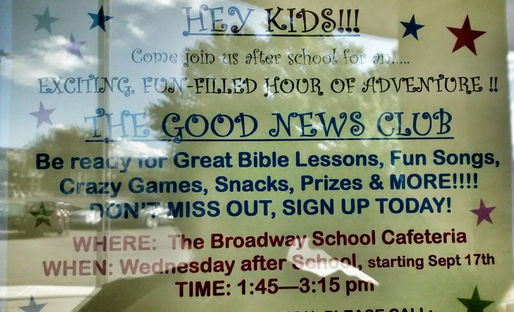 "This ""Hey Kids!!!"" poster recruits kids to attend evangelistic Bible classes  at Broadway Elementary."
