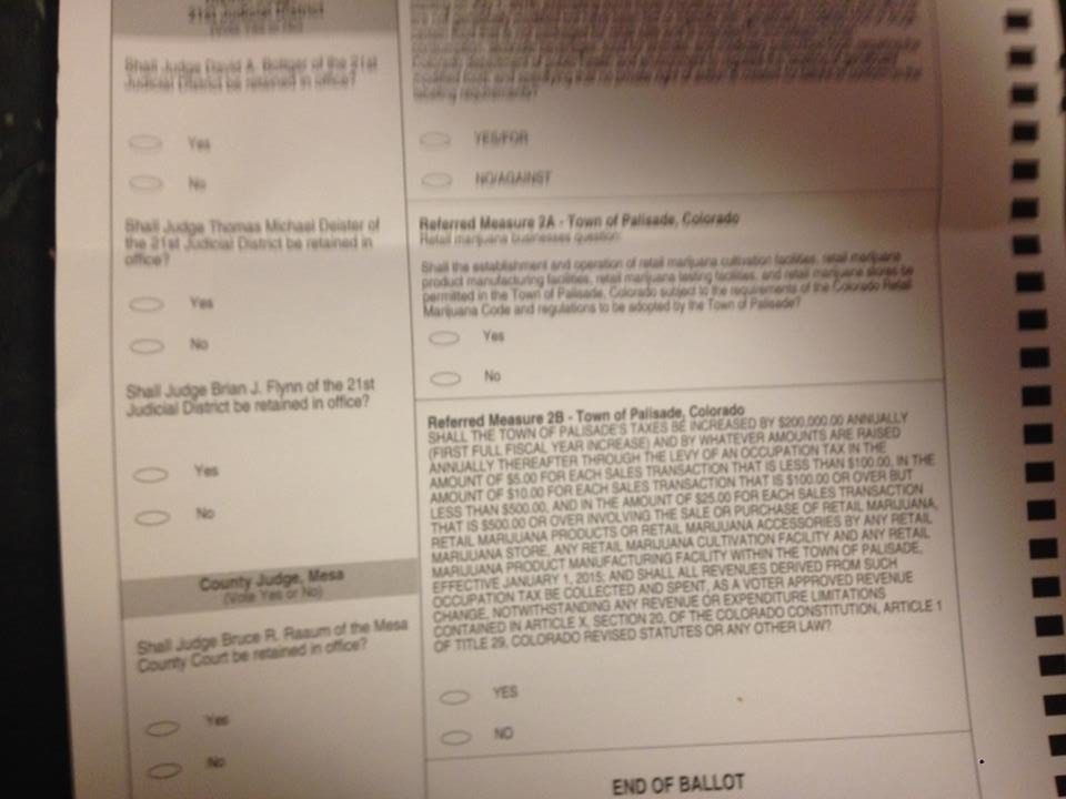 Ballot received by a county resident who lives near, but not in Palisade, that contains Referred Measures 2A and 2B. The two measures are only supposed to be voted on by residents within town limits