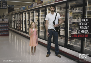 Moms Demand Action's ad against Kroger's policy of allowing patrons to brandish weapons in its stores