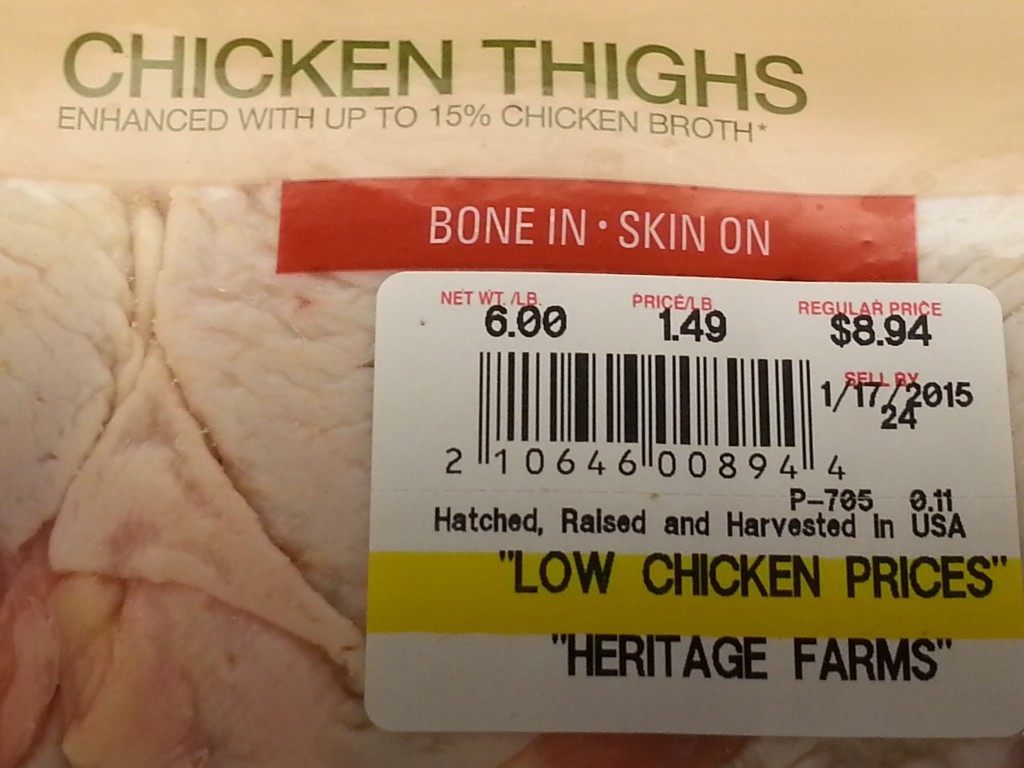 Read the fine print: the chicken is artificially injected with a 15% saline solution, for which you are paying by the pound