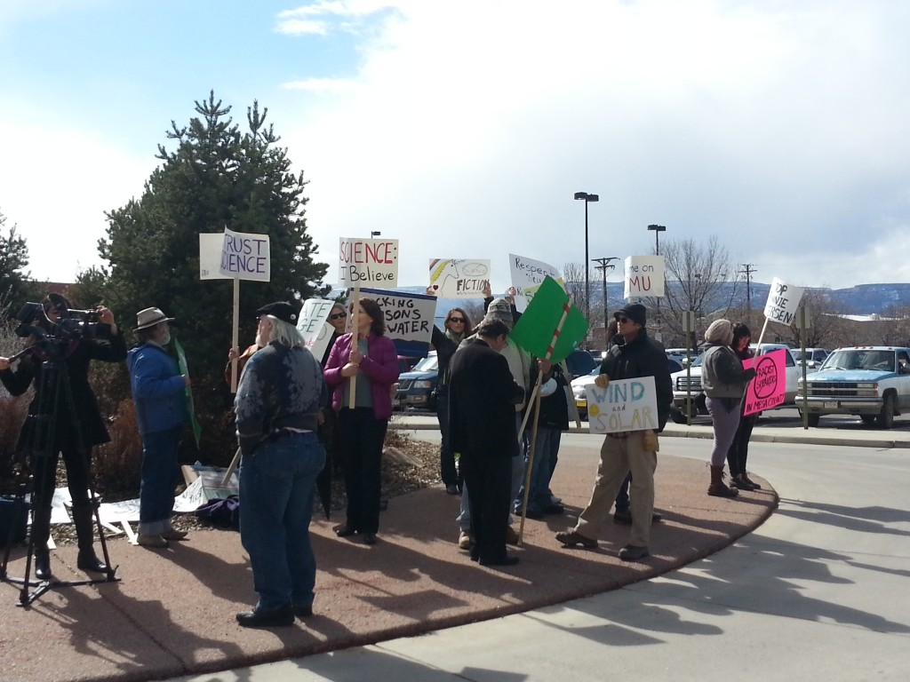 Crowd of protesters at Grand Junction's Energy Forum and Expo 2015