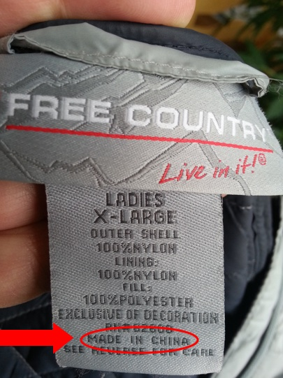 "A ""Free Country""-brand jacket with the slogan ""Live in it!"" bought at Sam's Club is made in China."