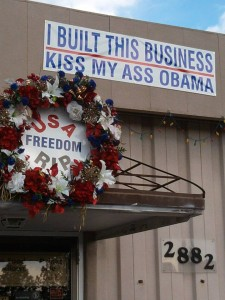 """Paul Liebe's banner outside his """"family friendly"""" business, NiteLife Billiards, on North Ave."""