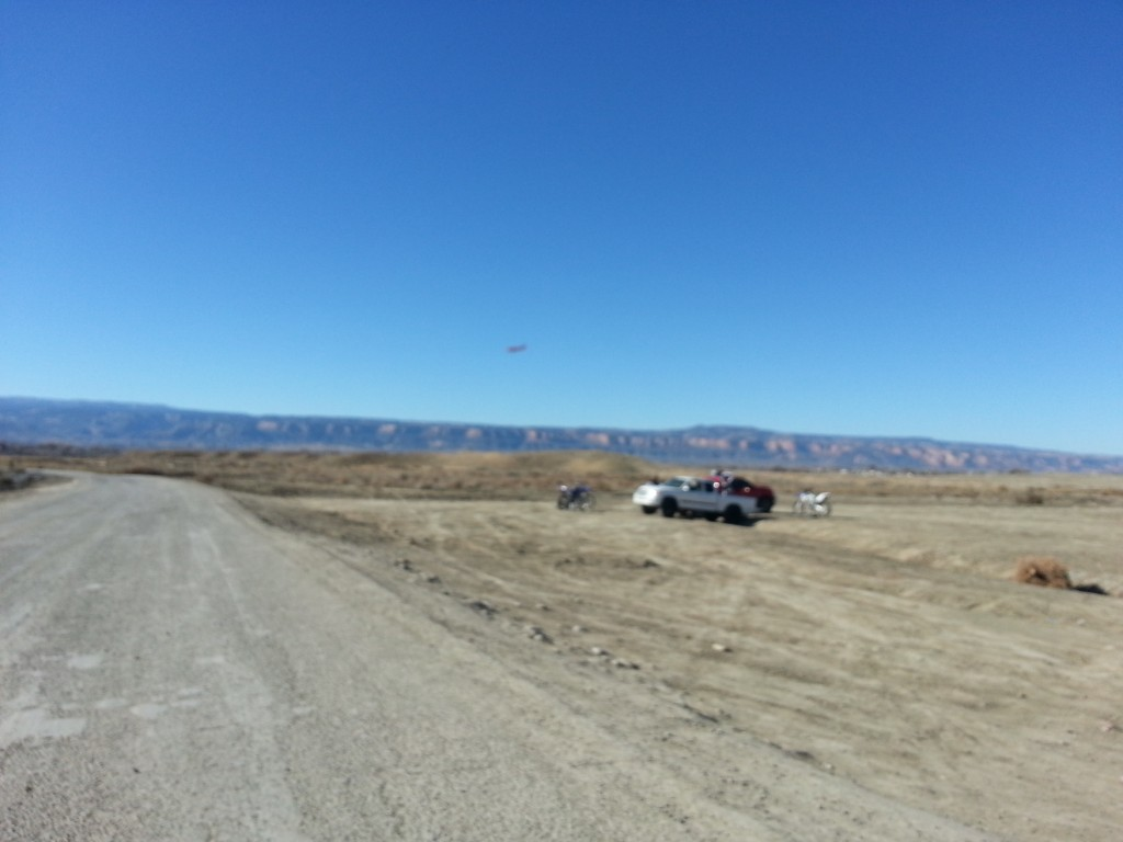 An airplane flies over areas on BLM land where shooting is permitted, right underneath the takeoff/landing patterns for G.J. Regional Airport
