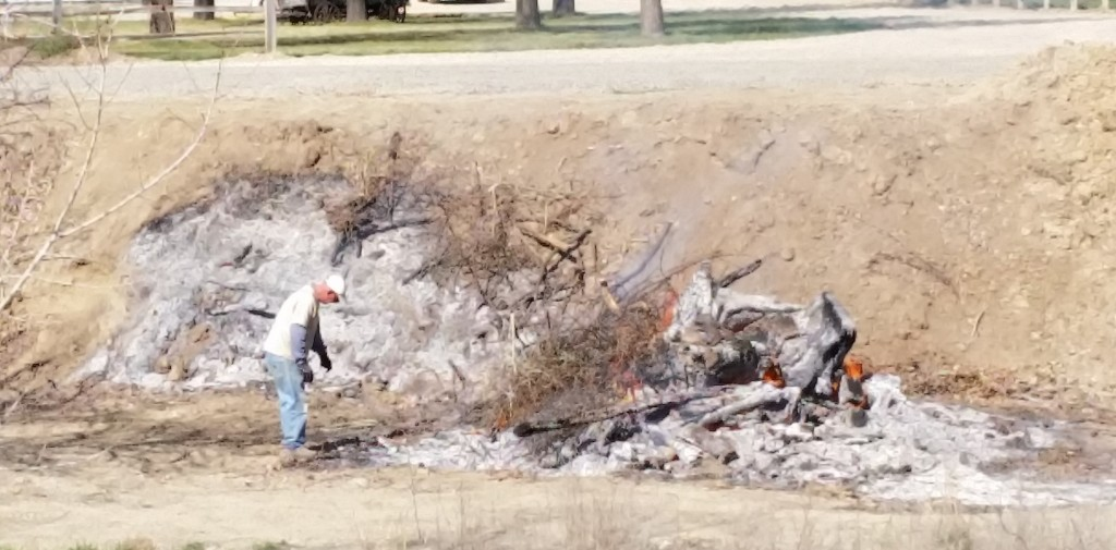 A man at 833 24 1/2 Road burns a tree stump in violation of Colorado Open Burning Regulations on March 30, 2015, about about 10:30 a.m.