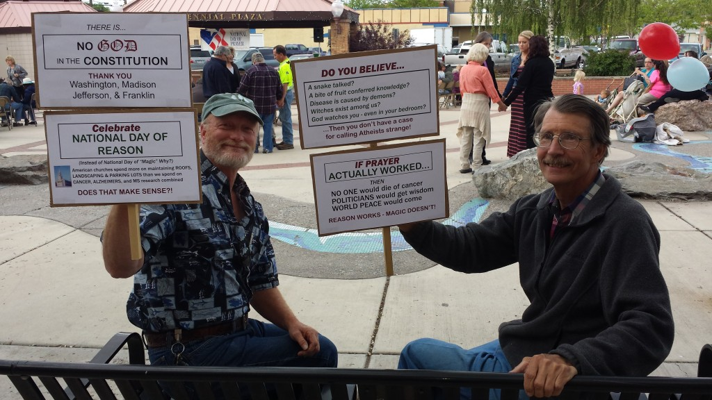 Atheists protest National Day of Prayer in Centennial Plaza, adjacent to Montrose City Hall