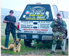 """""""Marc"""" proudly poses alongside his paranoid, hater truck"""