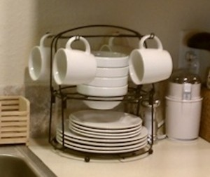 Stackable dinnerware set with rack