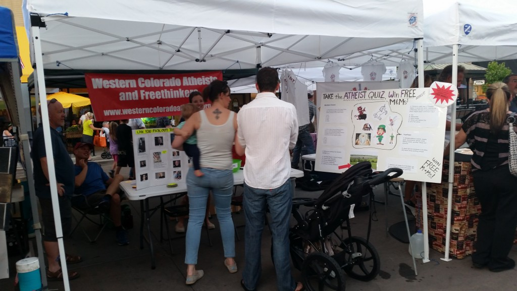 """WCAF's """"Atheist Quiz"""" is always a hit at the downtown Grand Junction Farmers Market"""
