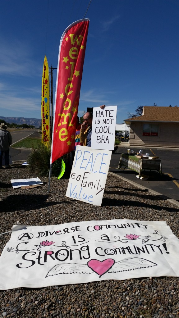 Anti-Islamaphobia rally particpants in Grand Junction today had plenty of signs indicating how they felt about an armed rally by Islam-haters that was planned for the same spot, but never materialized
