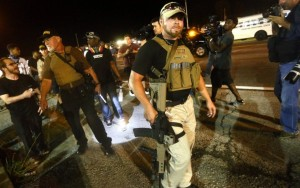 "Armed ""Oath Keepers"" roamed the streets of Ferguson, MI, exacerbating residents' unease after the death of Michael Brown"