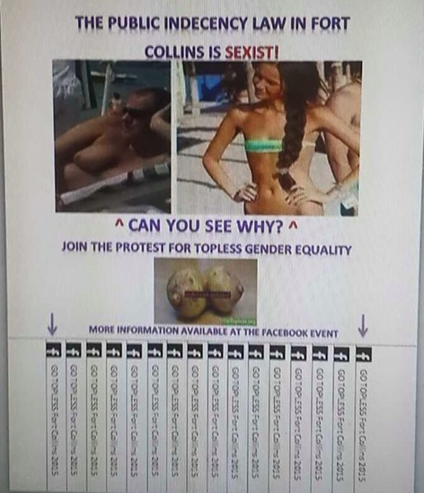 Go Topless Fort Collins flier promoting equal treatment of the sexes under Ft. Collins' Public Indecency ordinance