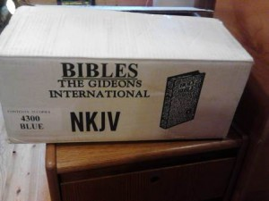 A box of Bibles from Gideons International
