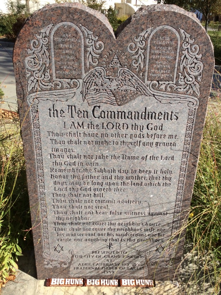 "A reader sent in this photo in homage to Grand Junction's former ""Ten Commandments"" mayor, Reford Theobold, who was recently busted for shoplifting Big Hunk candy bars from Cabela's in Mesa Mall"