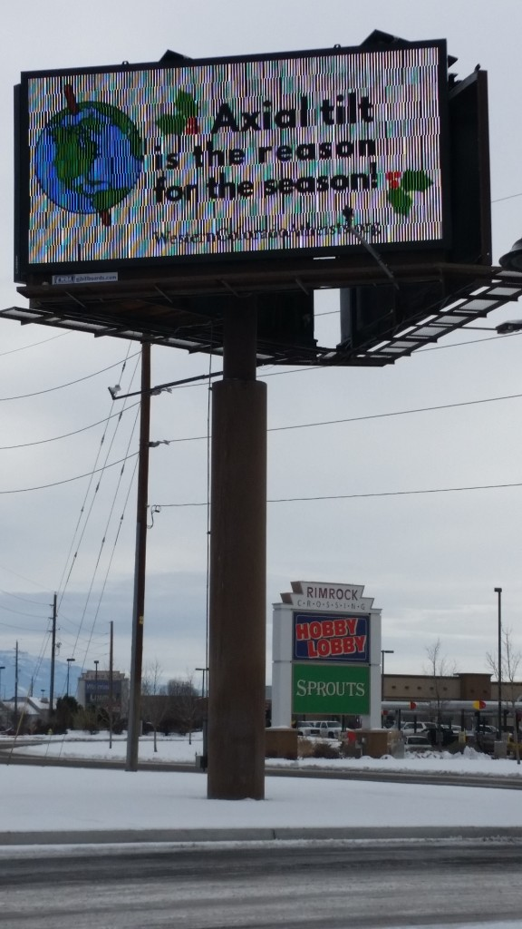 WCAF's Winter Solstice billboard, located at the west entrance tot town, in front of Hobby Lobby and Chick-Fil-A on I-70 Business Loop