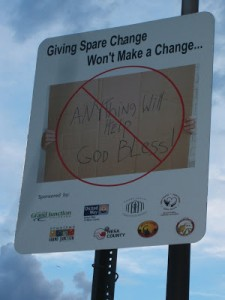 Weak, barely-legible and ineffective signage attempt to address homelessness and poverty in Grand Junction