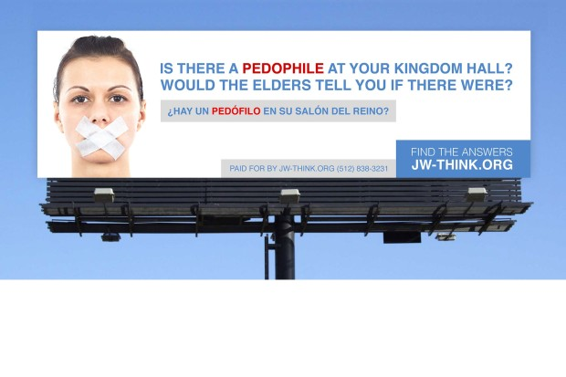 A group of Ex-Jehovah's Witnesses put up this hard-hitting billboard about pedophilia in Belton, Texas, where Jehovah's Witness conventions took place in late July/early August 2015.