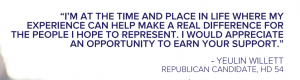 Quote from Willett's campaign website