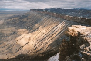 The Bookcliff range, which causees flooding and mud flows along its base in hard rainstorms