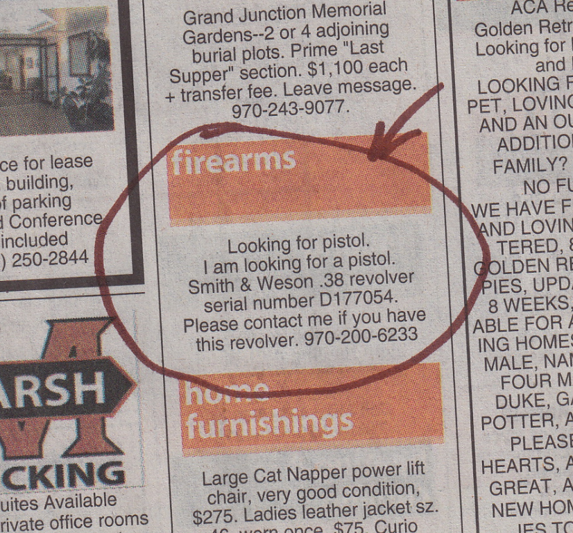 """From the Saturday, February 20, 2016 Daily Sentinel. """"Oops! Anybody seen my lost handgun?"""""""