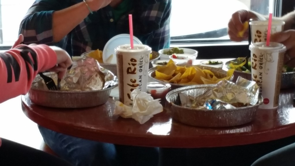 Cafe Rio serves every last bit of food in disposable dishware, including cups and eating implements, making the place an environmental nightmare