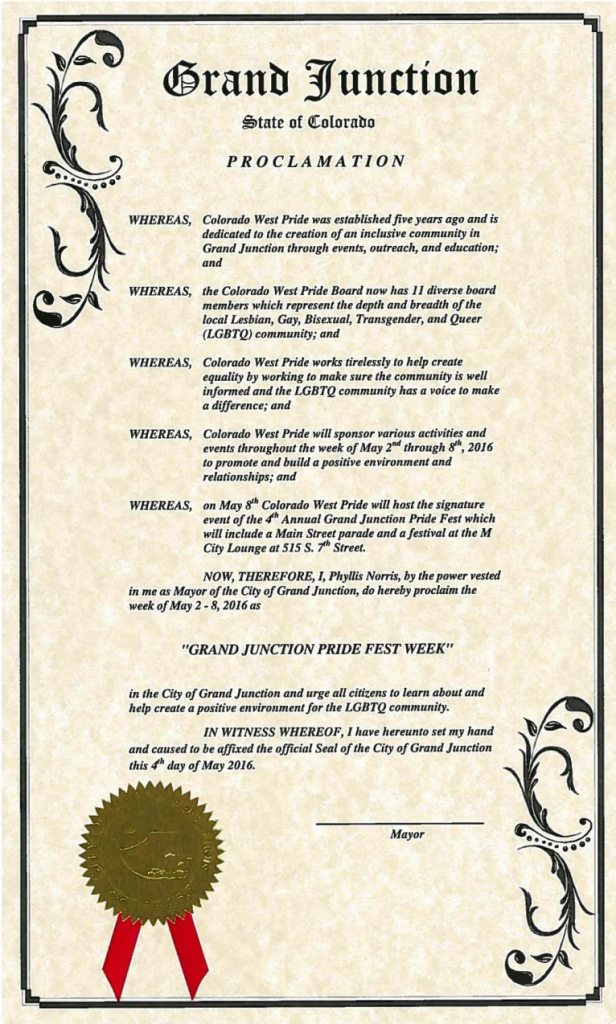 The City of Grand Junction's official proclamation endorsing Gay Pride Week in town