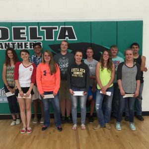 "Cidney Fisk, first row on the right, in red tennies, with a group of Delta High students last April, who were recognized by the Delta County Independent for displaying ""exceptional leadership, service, academic excellence, and are outstanding citizens in their school and community."""