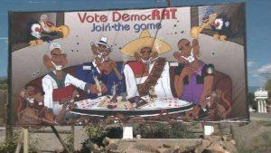 Anti-Democrat billboard posted in Delta, Colorado
