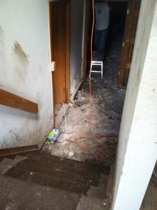 Flood damage in a Boulder, Colorado condo building in September, 2013, after 17 inches of rain fell in 2 days