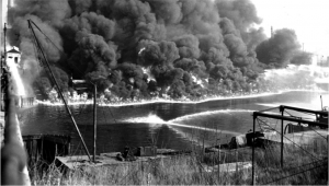The Cuyahoga River on fire in 1969 let to the passage of the Clean Water Act