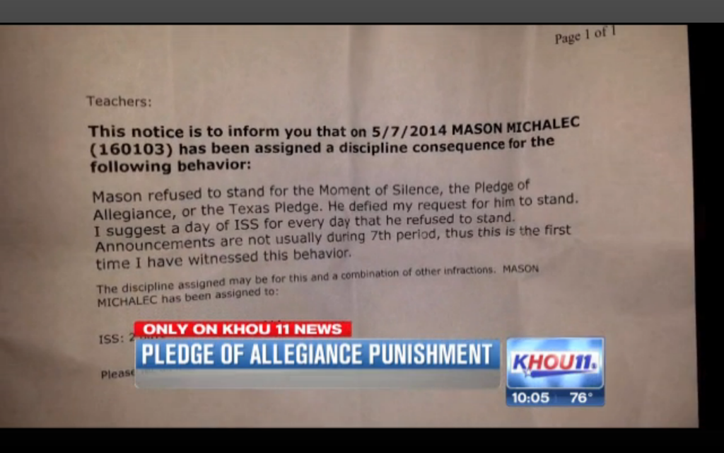 A Texas students was punished for not saying the Pledge