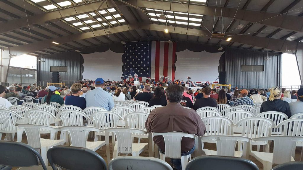 Photo taken inside the Mahindra Arena at the Mesa County Fairgrounds during the Donald Trump Junior rally shows plenty of empty seats.