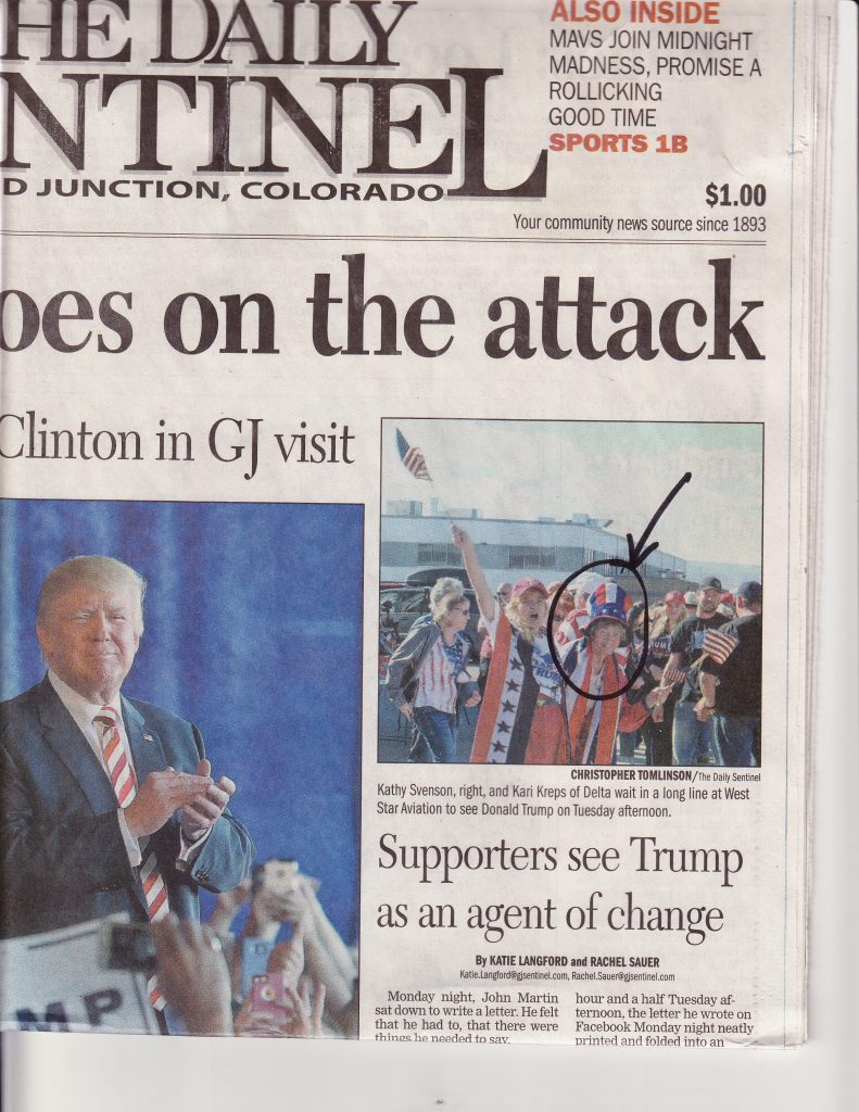 """Former Delta County """"Castration school board member"""" Kathy Svenson attended Trump's rally of self-described """"Deplorables"""" yesterday at West Star Aviation in Grand Junction"""