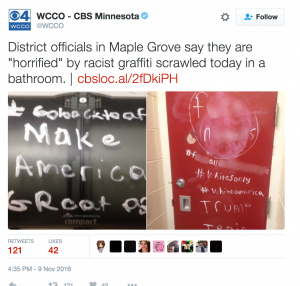 """Photo posted on social media of racist graffiti that """"horrified"""" school officials at a high school in Maple Grove, MN"""